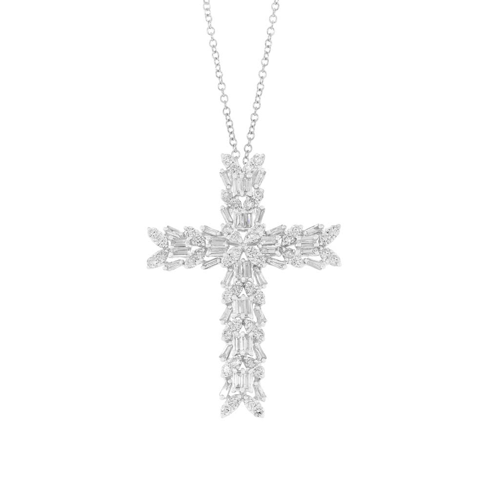 1.72ct 18k White Gold Diamond Baguette Cross Pendant Necklace