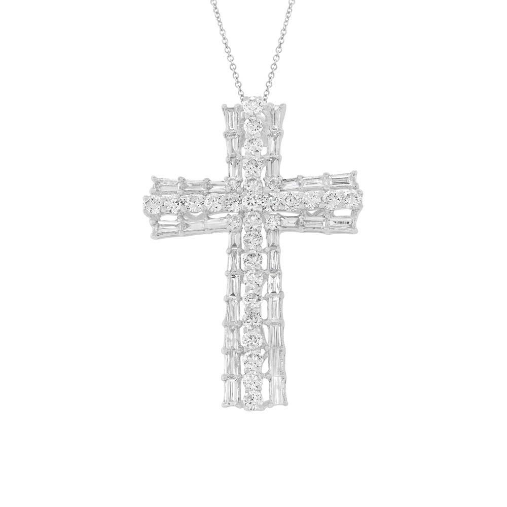 1.28ct 18k White Gold Diamond Baguette Cross Pendant Necklace