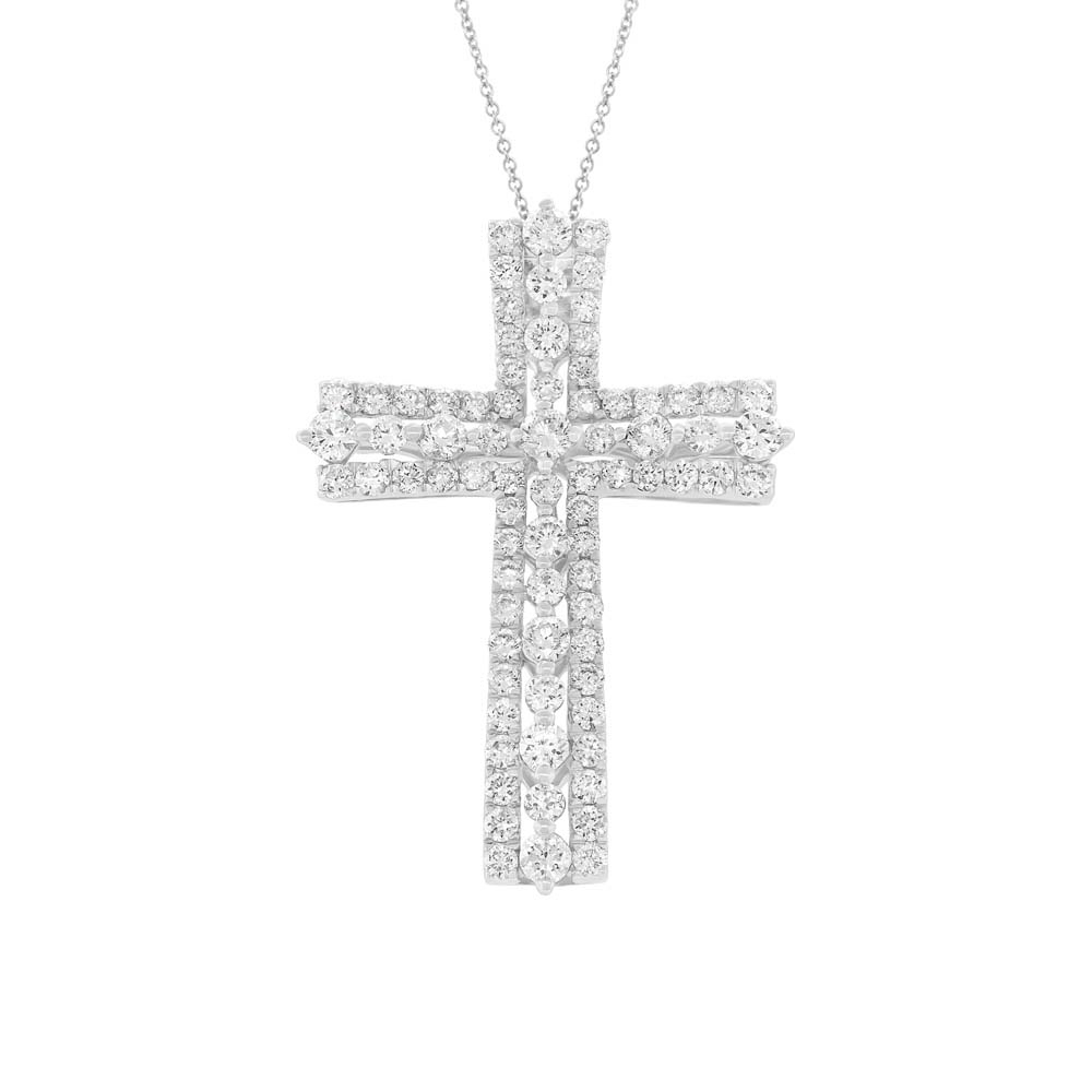1.28ct 18k White Gold Diamond Cross Pendant Necklace