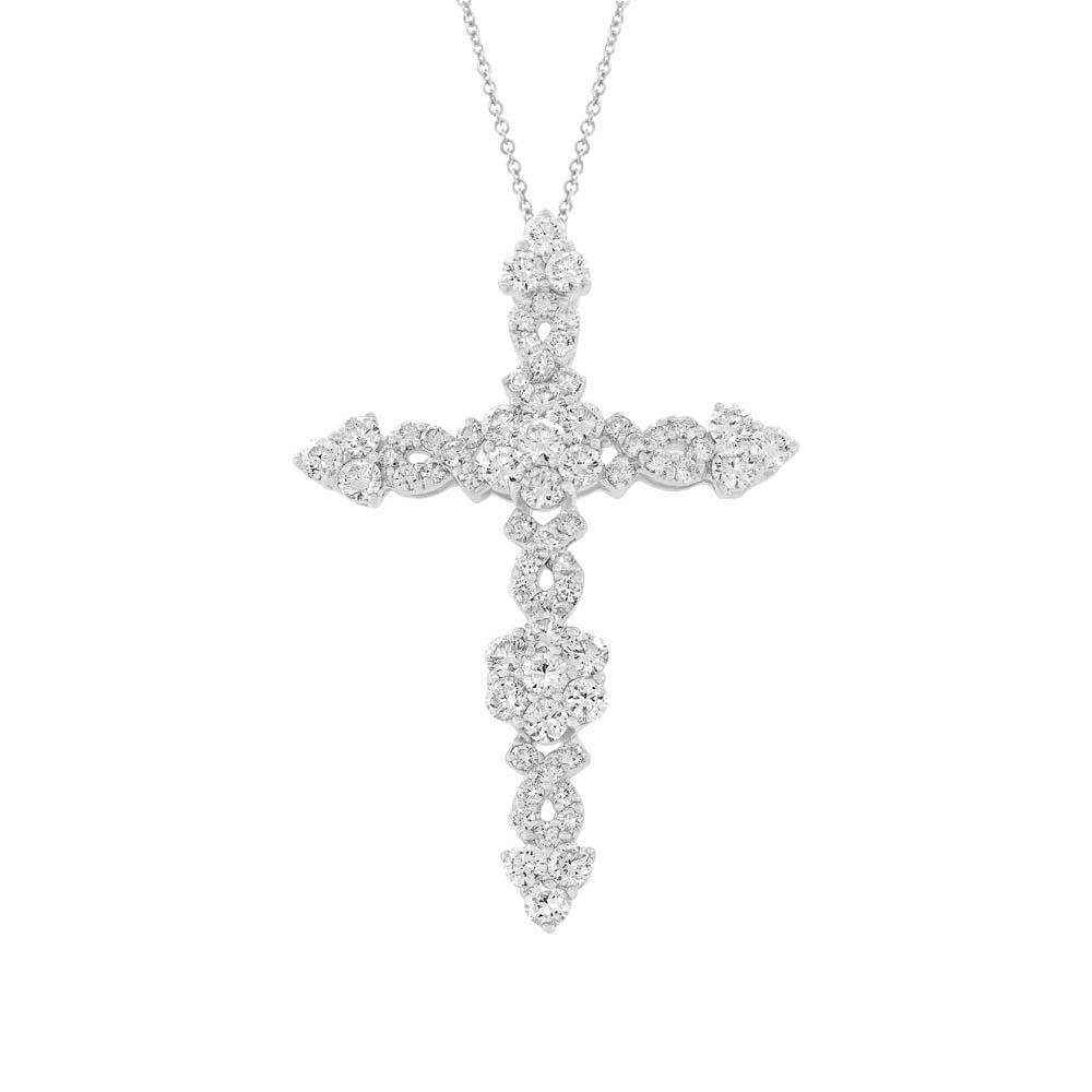 Diamond Cross Pendant Necklace 18k White Gold (1.93ct)