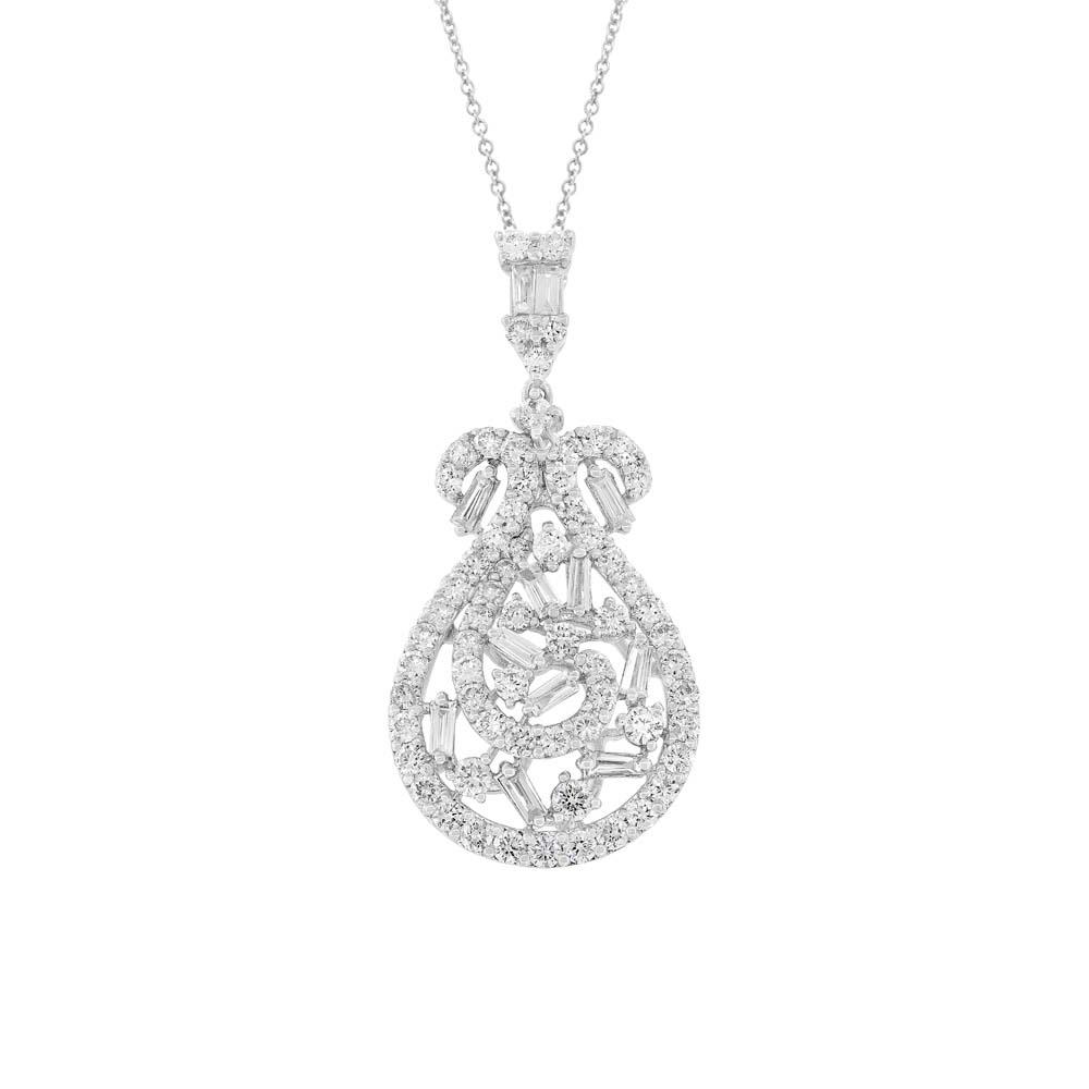 2.03ct 18k White Gold Diamond Pendant Necklace