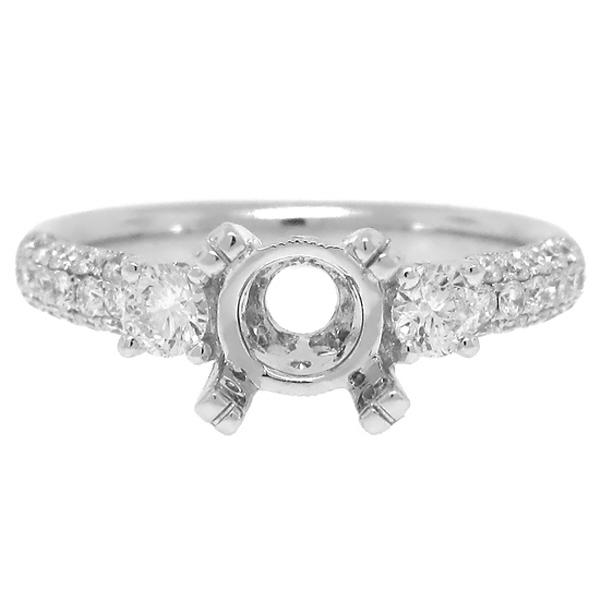 0.76ct 18k White Gold Diamond Semi-mount Ring