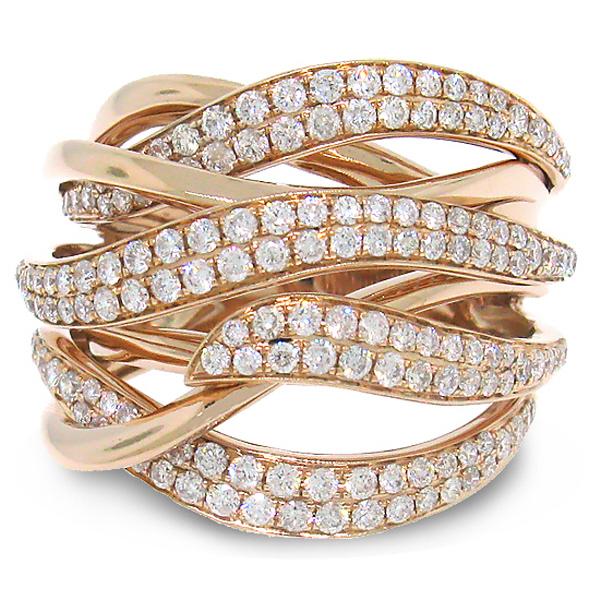 1.30ct 14k Rose Gold Diamond Bridge Ring