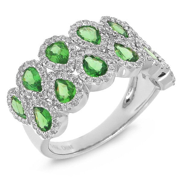 0.77ct Diamond & 1.78ct Green Garnet 14k White Gold Ring