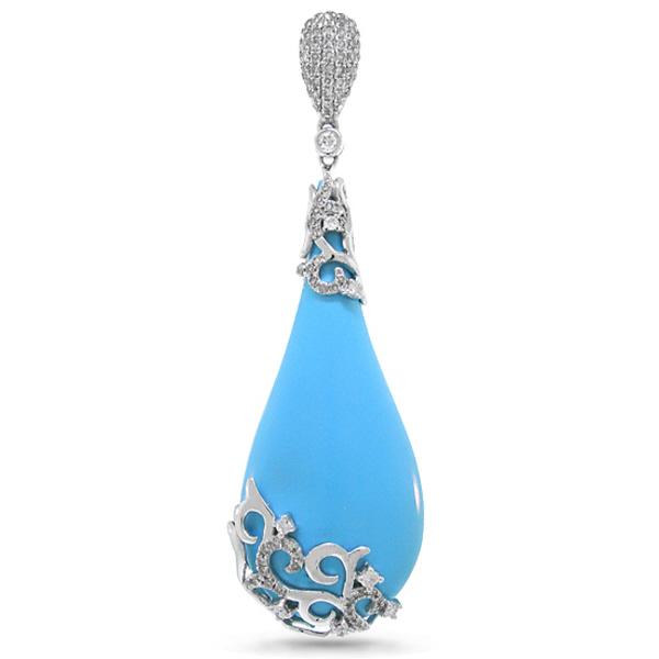 0.63ct Diamond & 31.21ct Composite Turquoise 14k White Gold Pendant Necklace