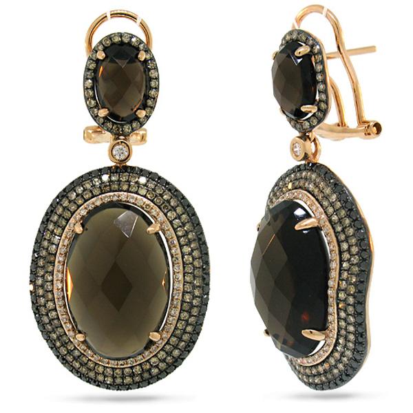 2.28ct White, Champagne & Black Diamond & 21.55ct Smokey Topaz 14k Rose Gold Earrings