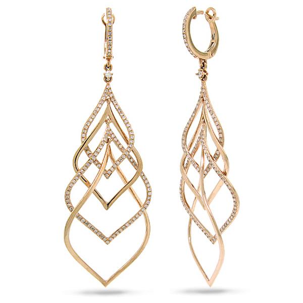 1.31ct 18k Rose Gold Diamond Earrings