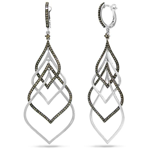 1.31ct 14k White Gold Champagne Diamond Earrings