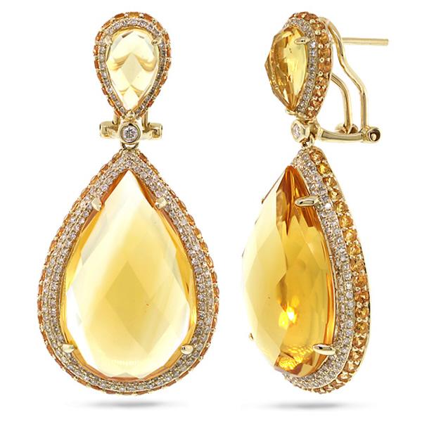 1.15ct Diamond & 43.35ct Citrine & Yellow Sapphire 14k Yellow Gold Earrings
