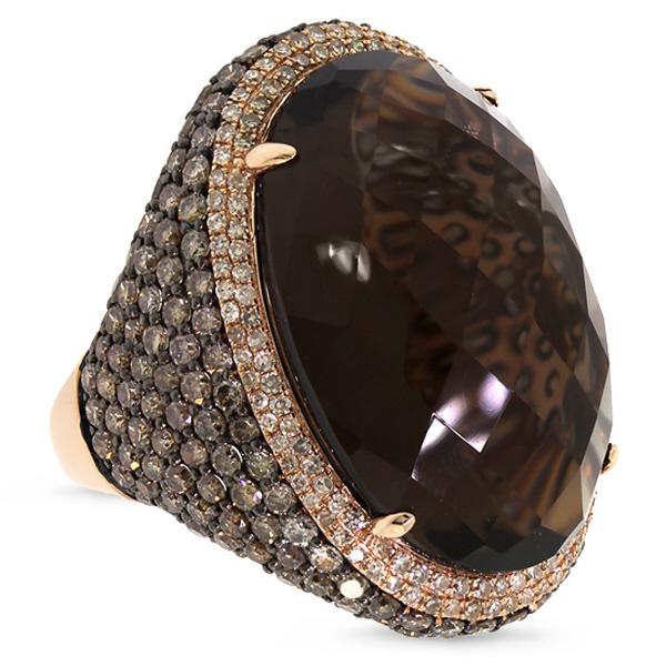 4.41ct White & Champagne Diamond & 29.47ct Smokey Topaz 14k Rose Gold Ring