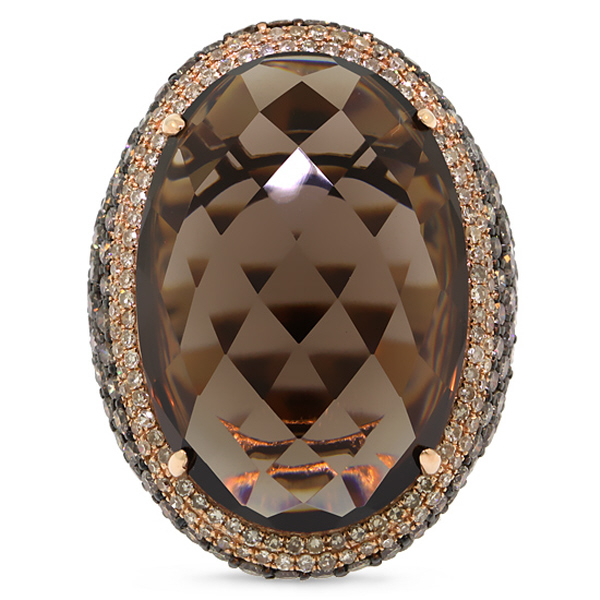 4.41ct White & Champagne Diamond & 29.47ct Smokey Topaz 14k Rose Gold Ring