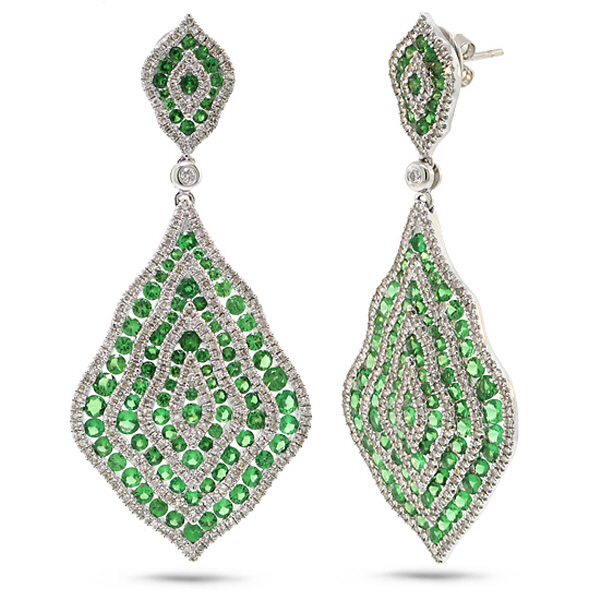 1.87ct Diamond & 6.29ct Green Garnet 14k White Gold Earrings