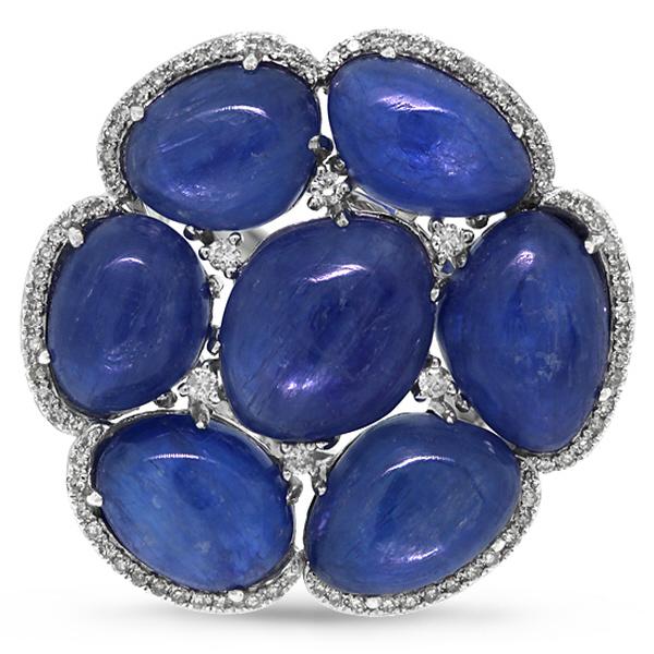0.39ct Diamond & 28.95ct Kyanite 14k White Gold Ring