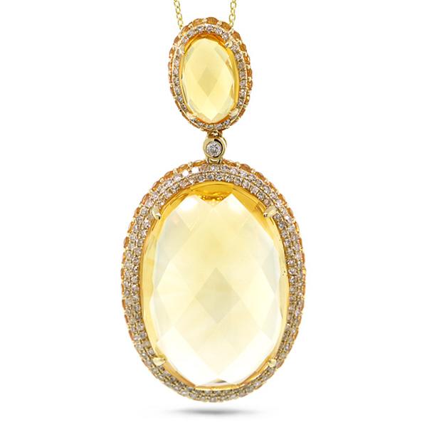 0.76ct Diamond & 31.53ct Citrine & Yellow Sapphire 14k Yellow Gold Pendant Necklace