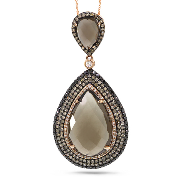 1.52ct White, Champagne & Black Diamond & 13.80ct Smokey Topaz 14k Rose Gold Pendant Necklace