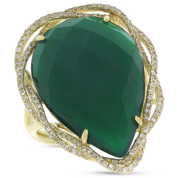 0.38ct Diamond & 13.49ct Green Agate 14k Yellow Gold Ring