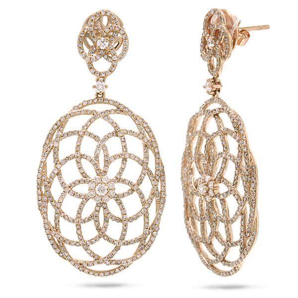 2.58ct 14k Rose Gold Diamond Lace Earrings