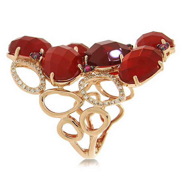 0.29ct Diamond & 13.94ct Red Agate & Ruby 14k Rose Gold Ring
