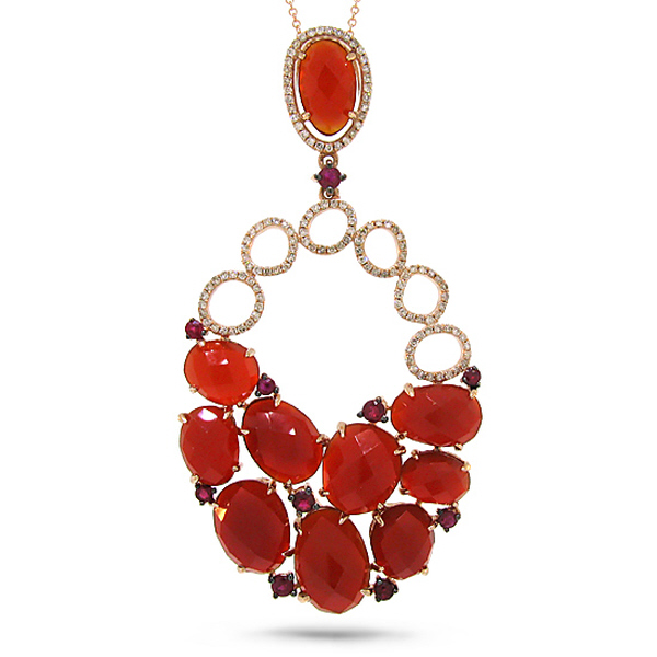0.40ct Diamond & 15.60ct Red Agate & Ruby 14k Rose Gold Pendant Necklace