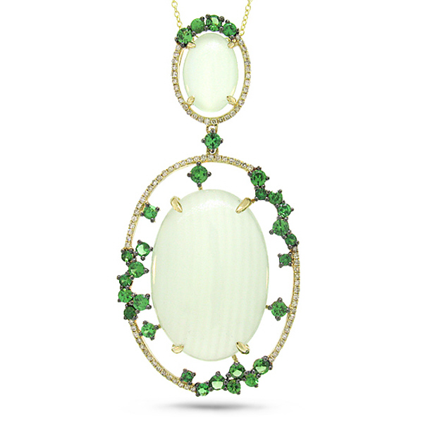 0.28ct Diamond & 23.99ct Green Carbonate & Green Garnet 14k Yellow Gold Pendant Necklace