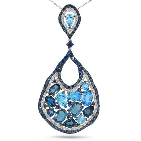 0.53ct Diamond & 10.12ct Blue Sapphire & Blue Topaz & London Blue Topaz 14k White Gold Pendant Necklace