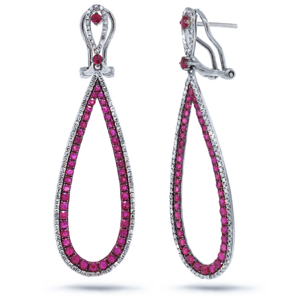 0.66ct Diamond & 2.39ct Ruby 14k White Gold Earrings