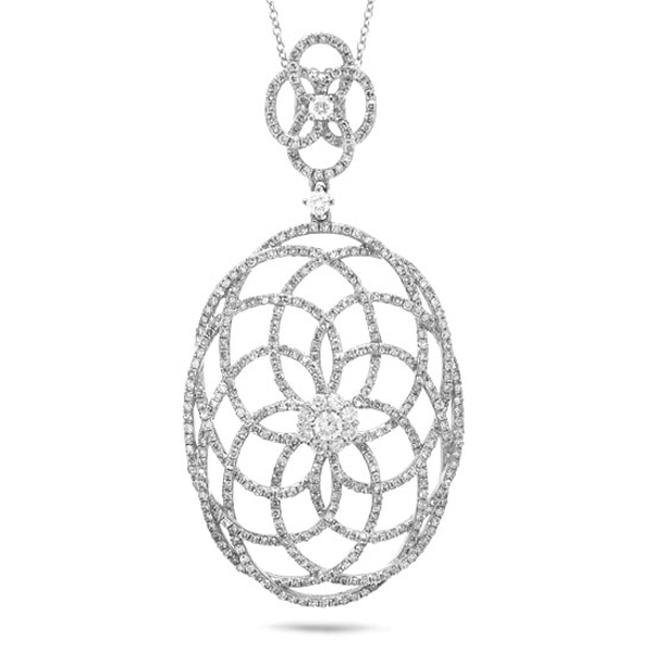 1.46ct 14k White Gold Diamond Lace Pendant Necklace