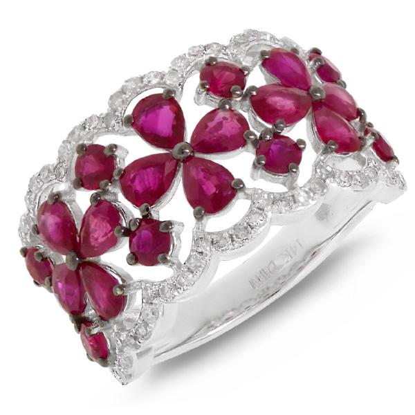 0.36ct Diamond & 2.94ct Pink Sapphire 14k White Gold Ring
