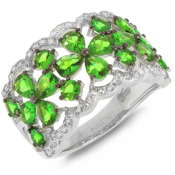 0.36ct Diamond & 2.49ct Green Garnet 14k White Gold Ring