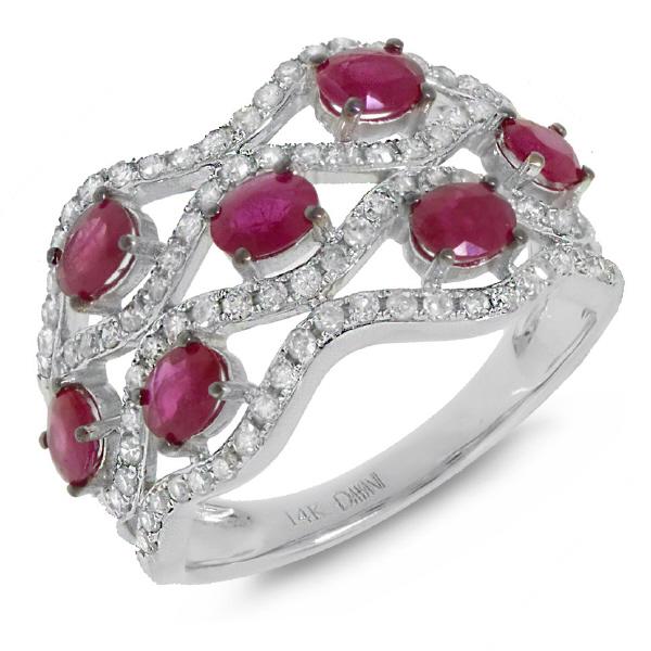 0.57ct Diamond & 1.35ct Ruby 14k White Gold Ring