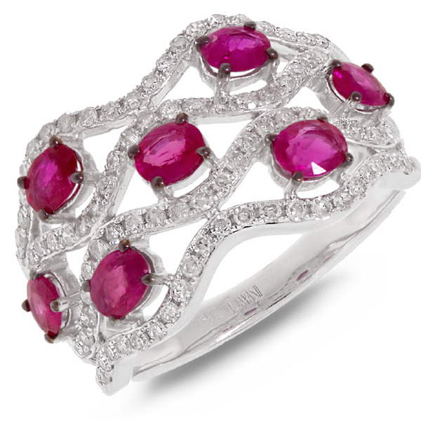 0.57ct Diamond & 1.29ct Pink Sapphire 14k White Gold Ring