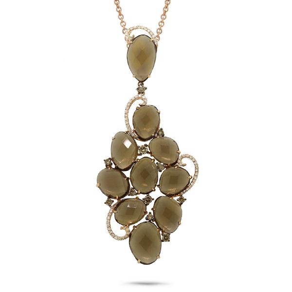 0.72ct White & Champagne Diamond & 23.30ct Smokey Topaz 14k Rose Gold Pendant Necklace