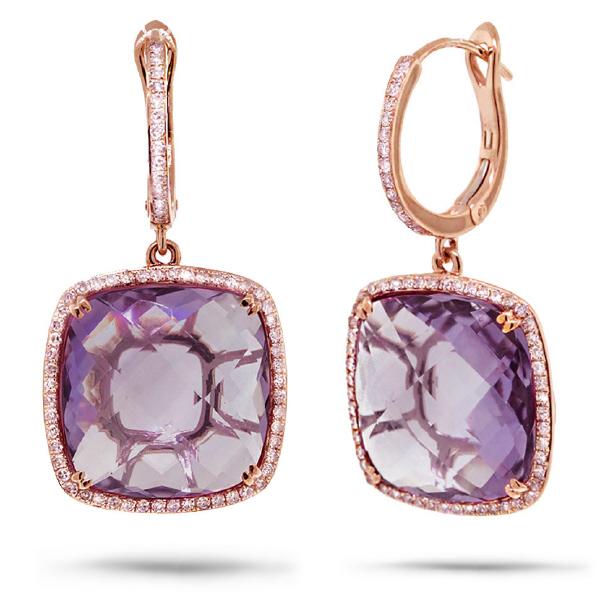 0.52ct Diamond & 20.84ct Amethyst 14k Rose Gold Earrings