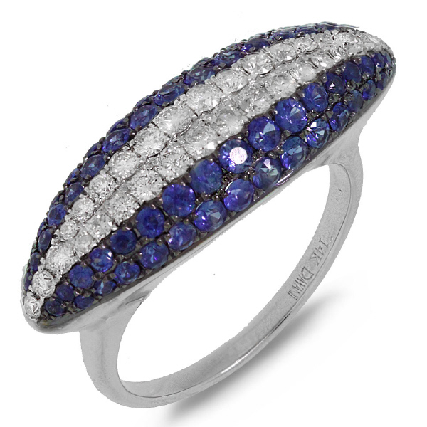 0.57ct Diamond & 1.33ct Blue Sapphire 14k White Gold Ring