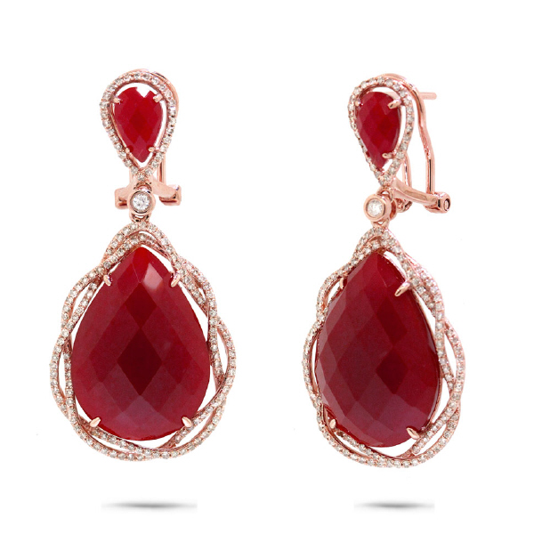 0.93ct Diamond & 23.79ct Red Agate 14k Rose Gold Earrings