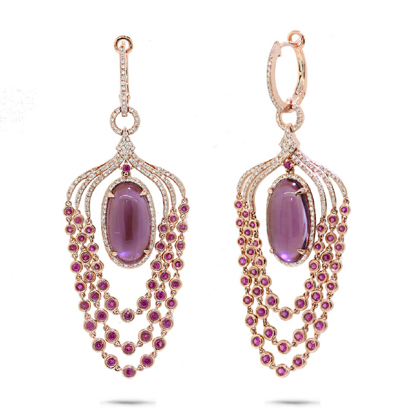 1.09ct Diamond & 14.91ct Amethyst, Pink Sapphire & Pink Pearl 14k Rose Gold Earrings