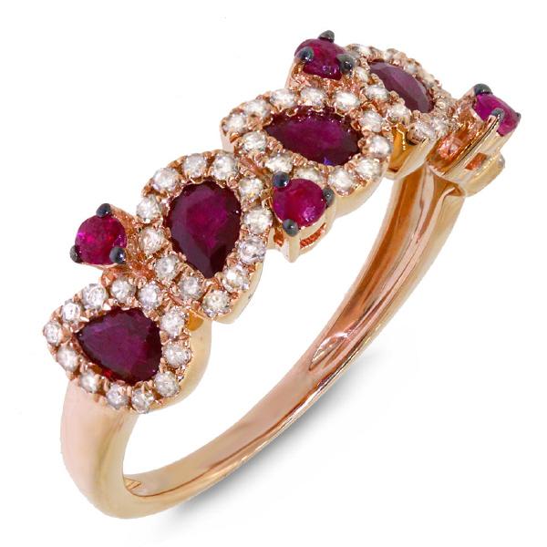 0.32ct Diamond & 1.23ct Ruby 14k Rose Gold Ring