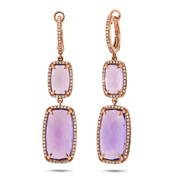 0.52ct Diamond & 14.28ct Amethyst 14k Rose Gold Earrings