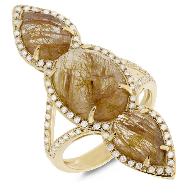 0.56ct Diamond & 9.33ct Golden Line Quartz 14k Yellow Gold Ring