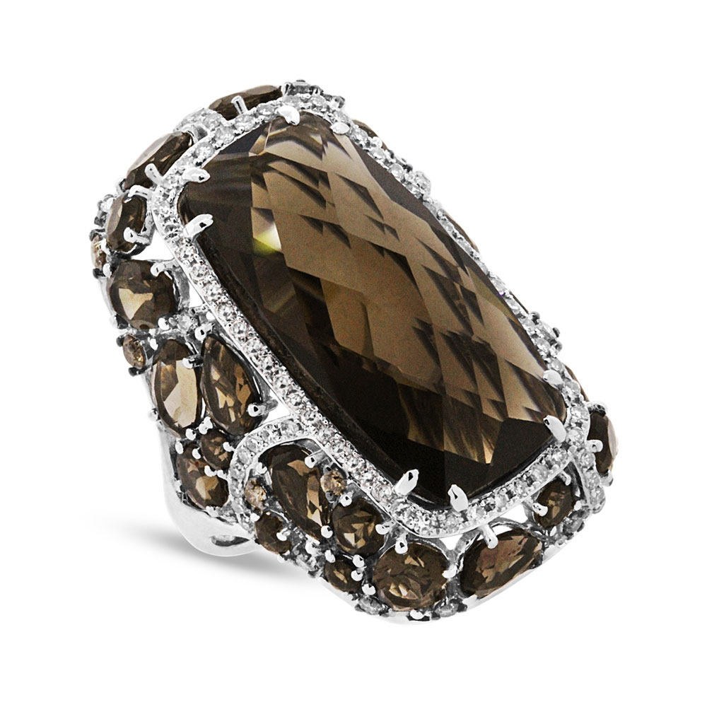 0.99ct White & Champagne Diamond & 20.66ct Smokey Topaz 14k White Gold Ring