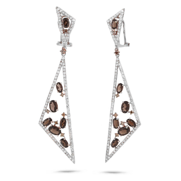 1.92ct White & Champagne Diamond & 3.91ct Smokey Topaz 14k White Gold Earrings