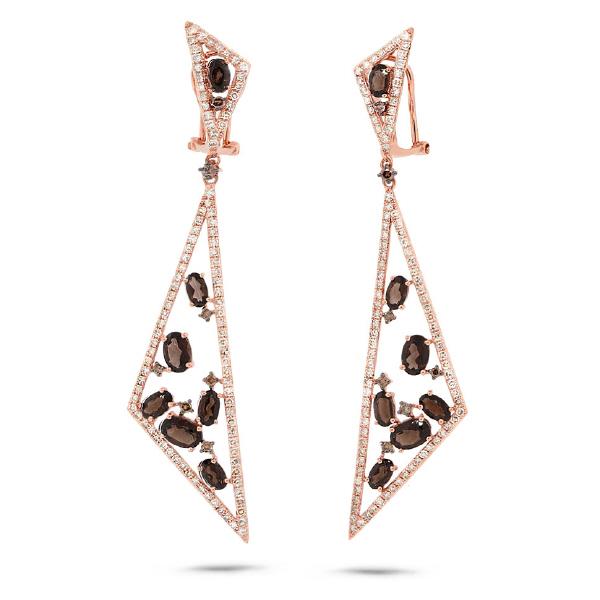 1.92ct White & Champagne Diamond & 3.91ct Smokey Topaz 14k Rose Gold Earrings