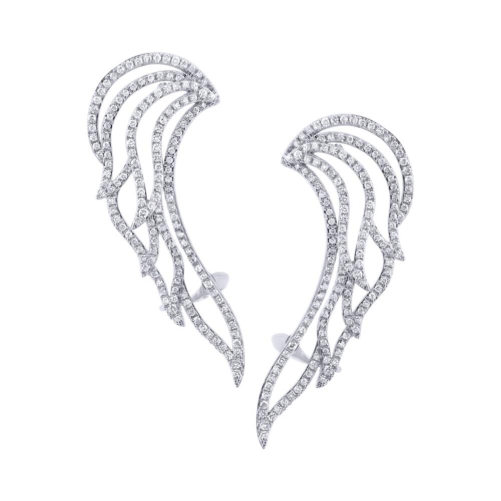 1.61ct 14k White Gold Diamond Ear Crawler Earrings