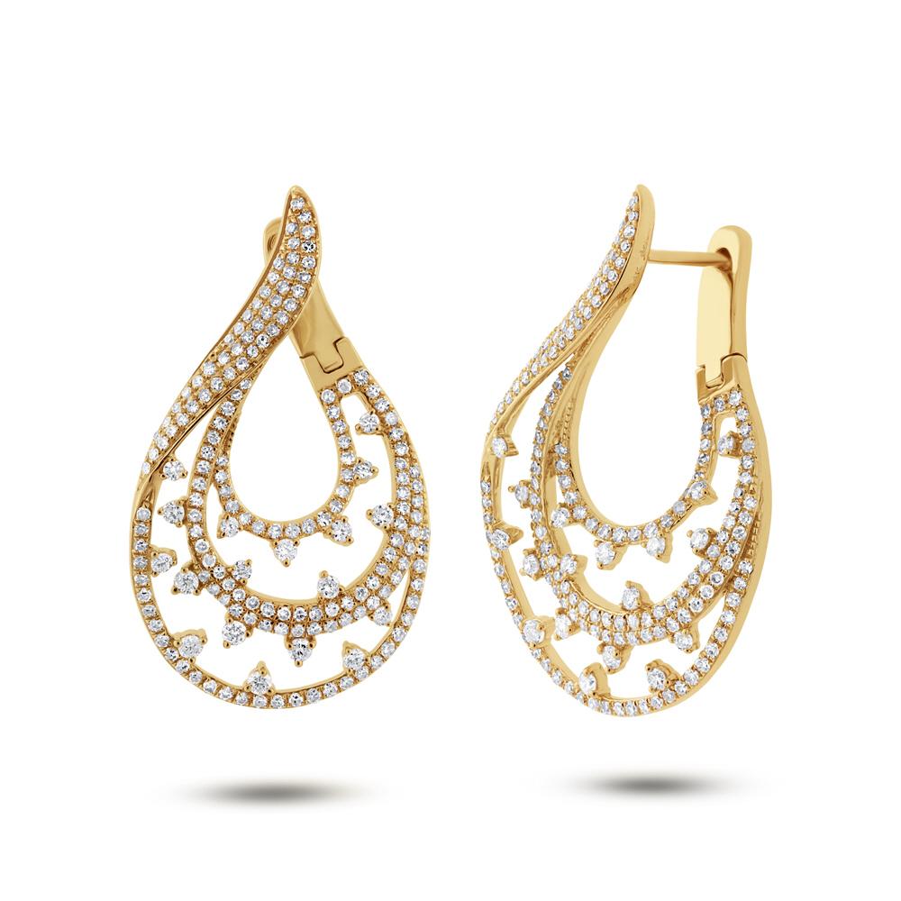 2.10ct 14k Yellow Gold Diamond Earrings