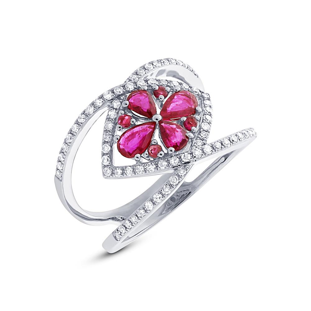 0.34ct Diamond & 0.80ct Ruby 14k White Gold Ring