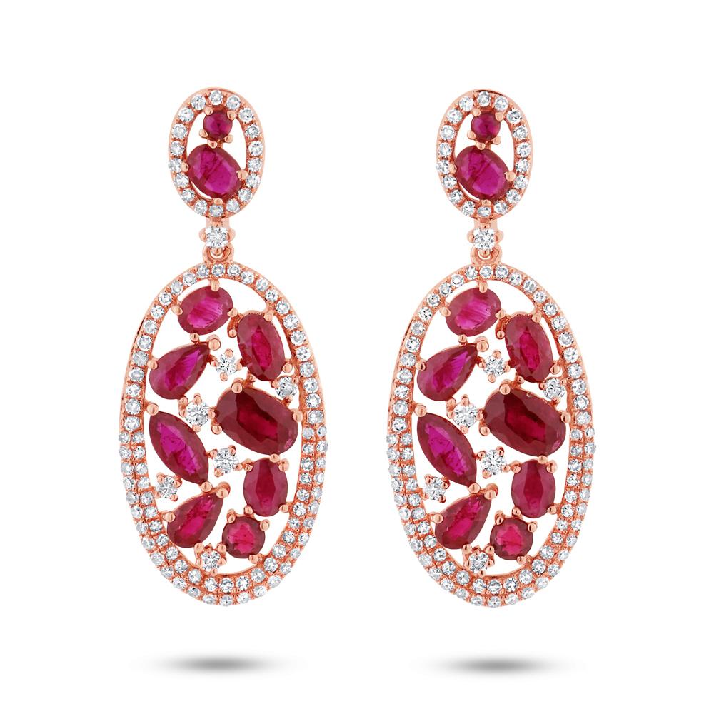1.12ct Diamond & 4.62ct Ruby 14k Rose Gold Earrings