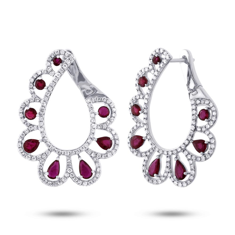 1.18ct Diamond & 2.50ct Ruby 14k White Gold Earrings