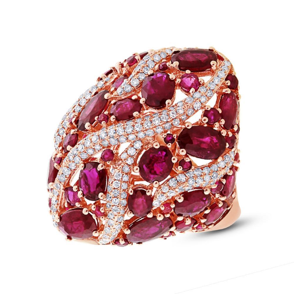 0.81ct Diamond & 8.17ct Ruby 14k Rose Gold Ring