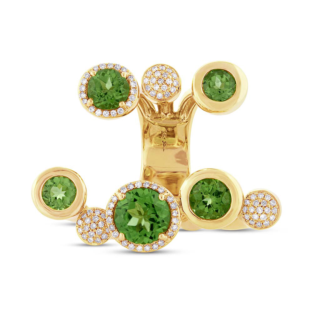 0.39ct Diamond & 5.31ct Peridot 14k Yellow Gold Ring