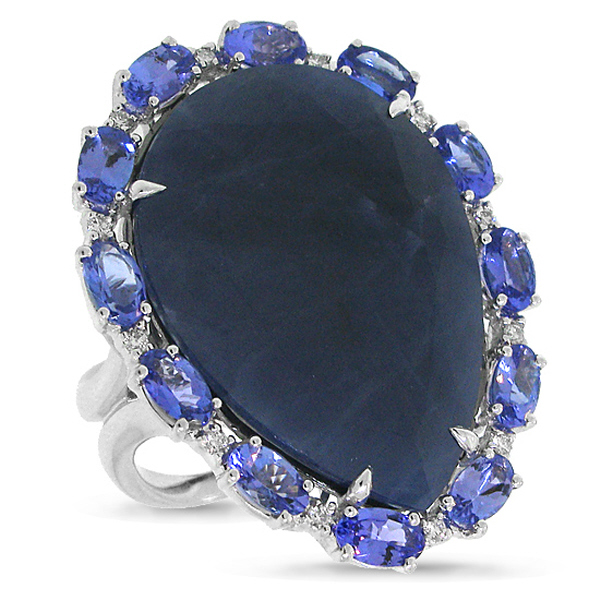 0.12ct Diamond & 27.00ct Flat Rose Cut Blue Sapphire & Tanzanite 18k White Gold Ring